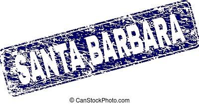 Scratched SANTA BARBARA Framed Rounded Rectangle Stamp