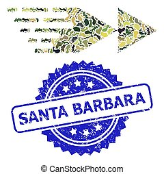 Scratched Santa Barbara Stamp and Military Camouflage Composition of Rewind Forward