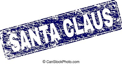 Scratched SANTA CLAUS Framed Rounded Rectangle Stamp