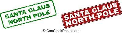 Scratched SANTA CLAUS NORTH POLE Stamps with Rounded Rectangle Frames