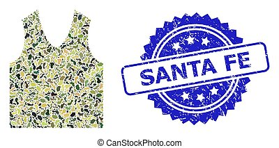 Scratched Santa Fe Stamp Seal and Military Camouflage Collage of Gilet