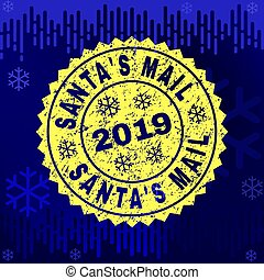 Scratched SANTA'S MAIL Stamp Seal on Winter Background
