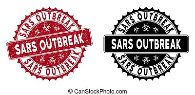 Scratched Sars Outbreak Round Red Stamp Seal