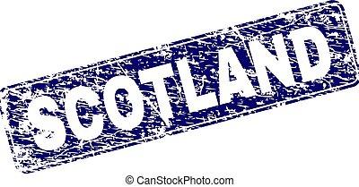 Scratched SCOTLAND Framed Rounded Rectangle Stamp