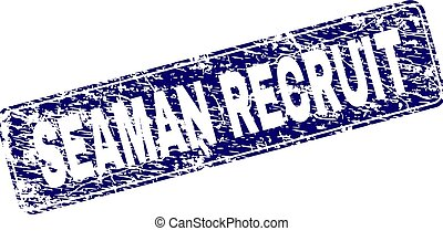 Scratched SEAMAN RECRUIT Framed Rounded Rectangle Stamp