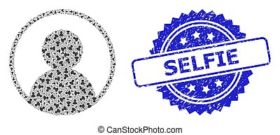 Scratched Selfie Seal Stamp and Recursion User Portrait Icon Collage