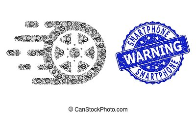 Scratched Smartphone Warning Round Seal Stamp and Recursion Car Wheel Icon Mosaic