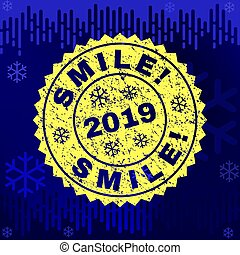Scratched SMILE! Stamp Seal on Winter Background