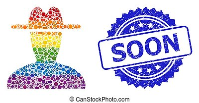 Spectrum vibrant vector peasant persona mosaic for LGBT, and Soon scratched rosette stamp seal. Blue stamp seal contains Soon title inside rosette.