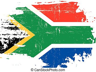 Scratched South African Flag - A flag of South Africa with a...