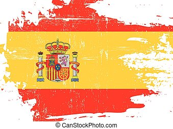 Scratched Spanish Flag - A flag of Spain with a grunge...