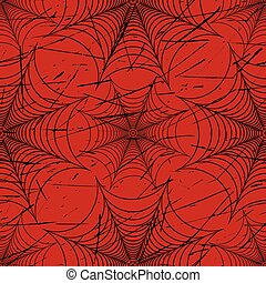 Scratched spider web seamless pattern black and red vector...