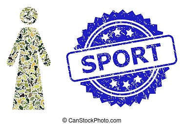 Scratched Sport Stamp and Military Camouflage Collage of Happy Woman