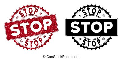 Scratched Stop Round Red Seal