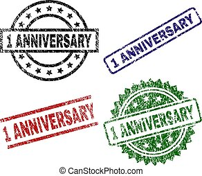 Scratched Textured 1 ANNIVERSARY Seal Stamps