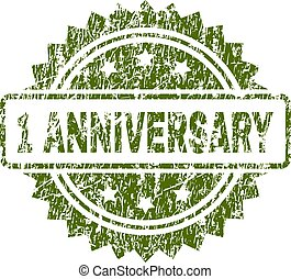 Scratched Textured 1 ANNIVERSARY Stamp Seal