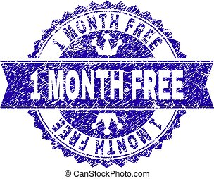 Scratched Textured 1 MONTH FREE Stamp Seal with Ribbon