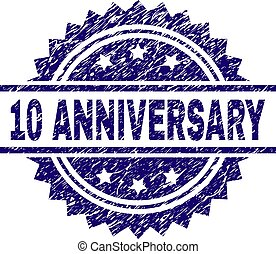 Scratched Textured 10 ANNIVERSARY Stamp Seal
