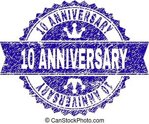 Scratched Textured 10 ANNIVERSARY Stamp Seal with Ribbon