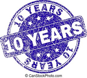 Scratched Textured 10 YEARS Stamp Seal