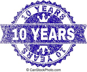 Scratched Textured 10 YEARS Stamp Seal with Ribbon