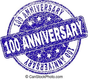 Scratched Textured 100 ANNIVERSARY Stamp Seal