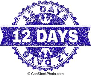 Scratched Textured 12 DAYS Stamp Seal with Ribbon