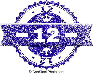 Scratched Textured 12 Stamp Seal with Ribbon