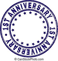 Scratched Textured 1ST ANNIVERSARY Round Stamp Seal