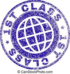 Scratched Textured 1ST CLASS Stamp Seal