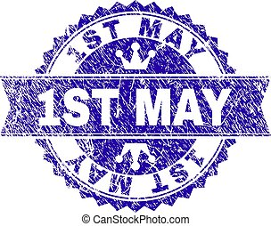 Scratched Textured 1ST MAY Stamp Seal with Ribbon