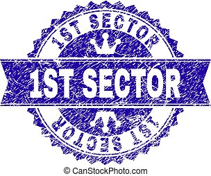 Scratched Textured 1ST SECTOR Stamp Seal with Ribbon