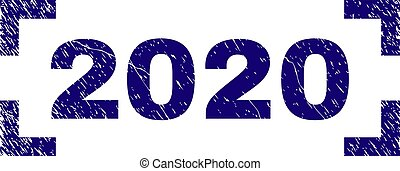Scratched Textured 2020 Stamp Seal Inside Corners