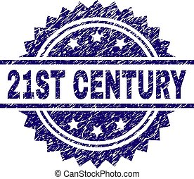 21ST CENTURY stamp seal watermark with distress style. Blue vector rubber print of 21ST CENTURY title with corroded texture.