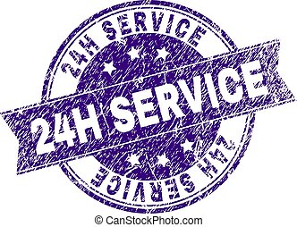 Scratched Textured 24H SERVICE Stamp Seal