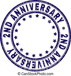 Scratched Textured 2ND ANNIVERSARY Round Stamp Seal