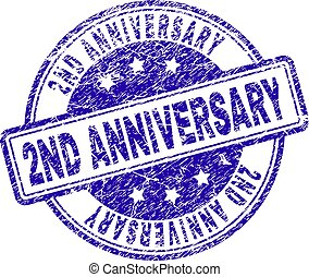 Scratched Textured 2ND ANNIVERSARY Stamp Seal