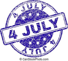 Scratched Textured 4 JULY Stamp Seal - 4 JULY stamp seal...