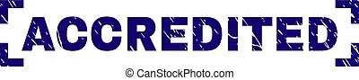 Scratched Textured ACCREDITED Stamp Seal Inside Corners -...