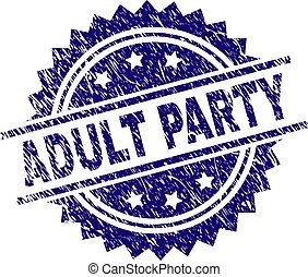 Scratched Textured ADULT PARTY Stamp Seal