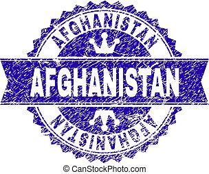 Scratched Textured AFGHANISTAN Stamp Seal with Ribbon