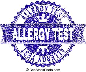Scratched Textured ALLERGY TEST Stamp Seal with Ribbon