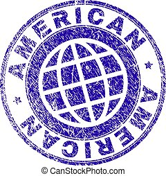 Scratched Textured AMERICAN Stamp Seal