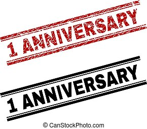 Scratched Textured and Clean 1 ANNIVERSARY Stamp Prints