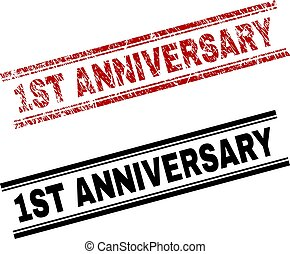 Scratched Textured and Clean 1ST ANNIVERSARY Stamp Prints