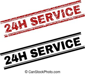 Scratched Textured and Clean 24H SERVICE Stamp Prints