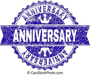 Scratched Textured ANNIVERSARY Stamp Seal with Ribbon