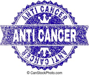 Scratched Textured ANTI CANCER Stamp Seal with Ribbon