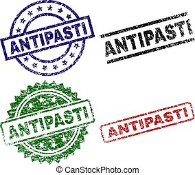 Scratched Textured ANTIPASTI Stamp Seals