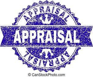 Scratched Textured APPRAISAL Stamp Seal with Ribbon